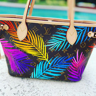 Louis Vuitton Neverfull painted palm omb