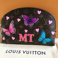 Painted Louis Vuitton makeup pouch butte