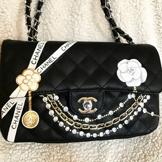 painted Chanel Bag Flap pearls and ribbo