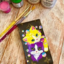 Cute Kitty painted LV Wallet