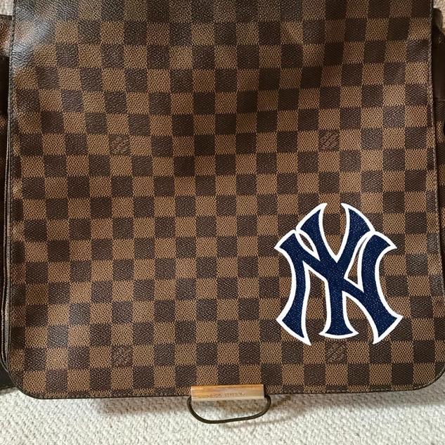 Louis Vuitton bag painted Yankees logo