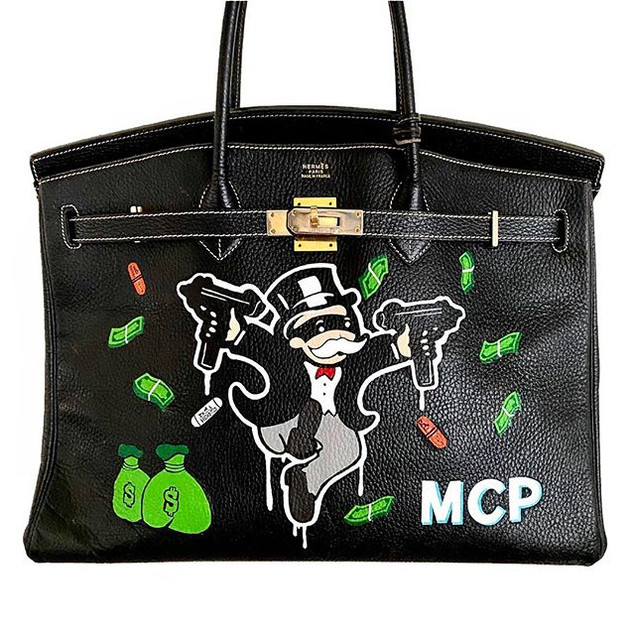 Alec monopoly inspired custom birkin for