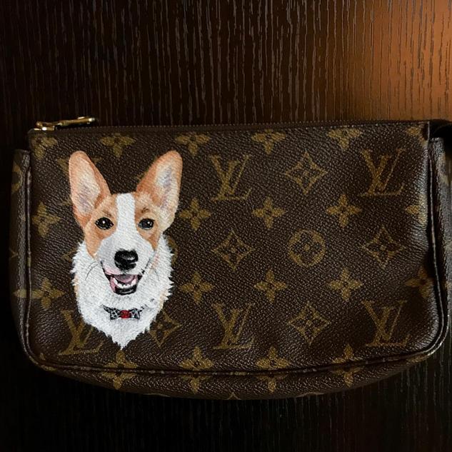 Corgi custom pet portrait Louis Vuitton