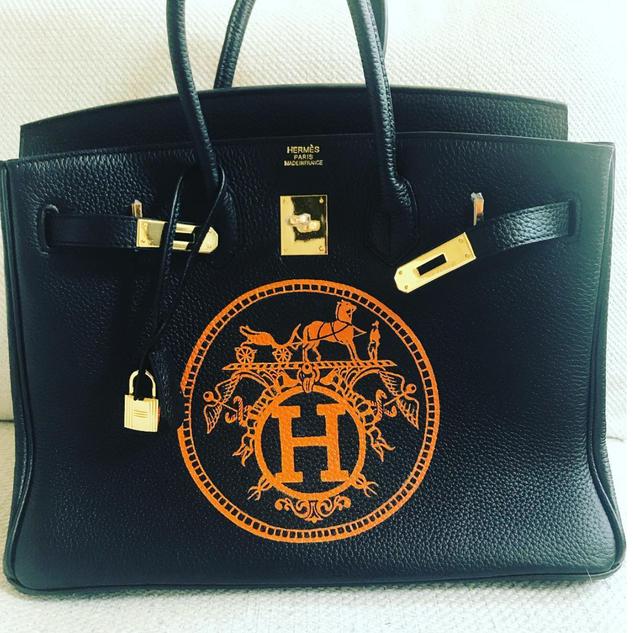 Painted Hermes Birkin Logo bag