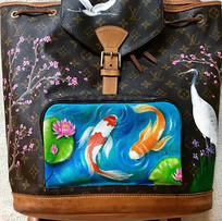 Japanes themed painted Louis Vuitton bac