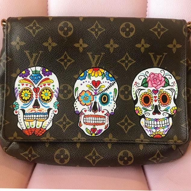 Sugar Skull custom painted Louis Vuitton