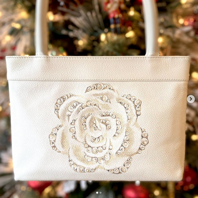 Chanel mini bag custom painted camellia
