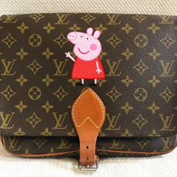 Peppa Pig painted Louis Vuitton messenger