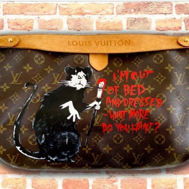 Banksy rat interpretation on LV bag
