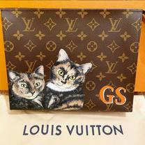 Custom hand painted LV toiletry bag pet