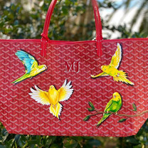 Parakeet design hand painted  bag