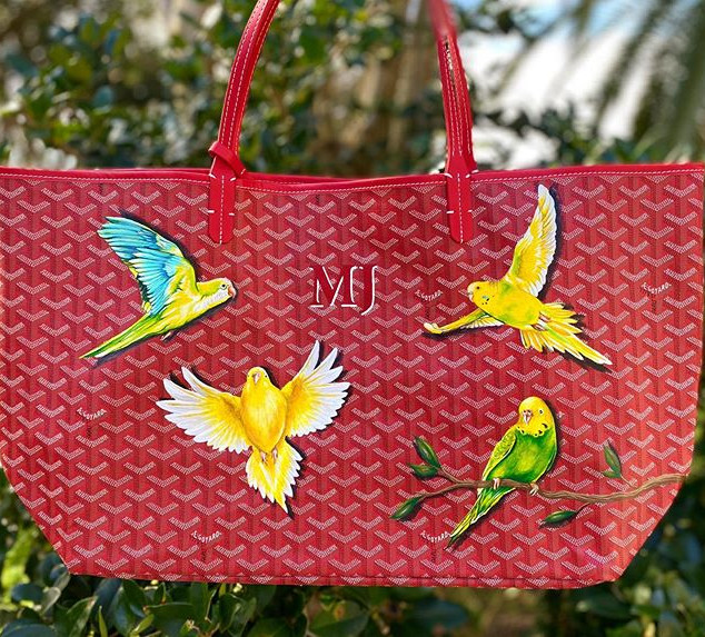 Parakeet design hand painted Goyard bag