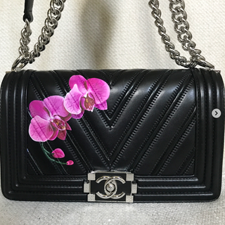 Painted Chanel Bag orchids