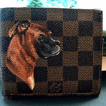 Louis Vuitton painted wallet dog