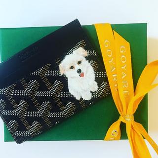 Puppy painting Goyard cardholder