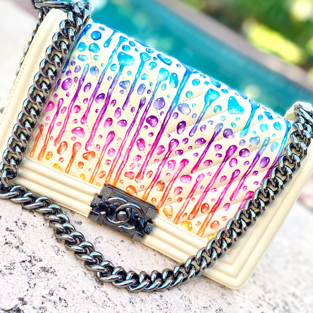 Painted Chanel ombre drips Boy bag