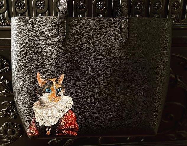 Custom painted bag cat portrait renaissa