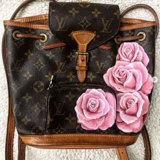 Painted Louis Vuitton Backpack Roses