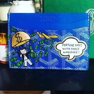 monopoly man painted Goyard cardholder b