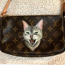 custom cat painting Louis Vuitton LV POc