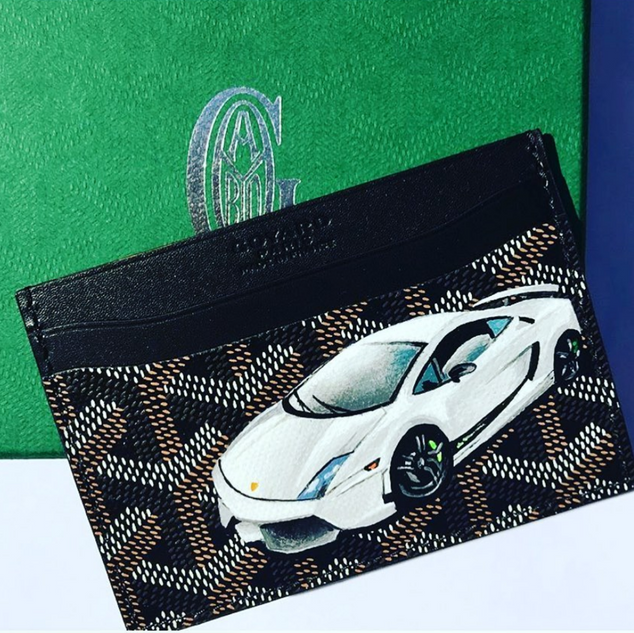 painted Goyard cardholder Lamborghini ca