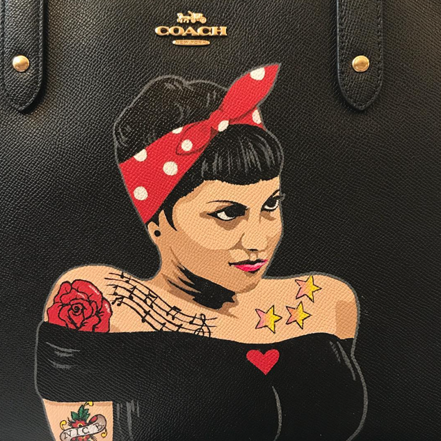 Custom painted pin up girl coach handbag