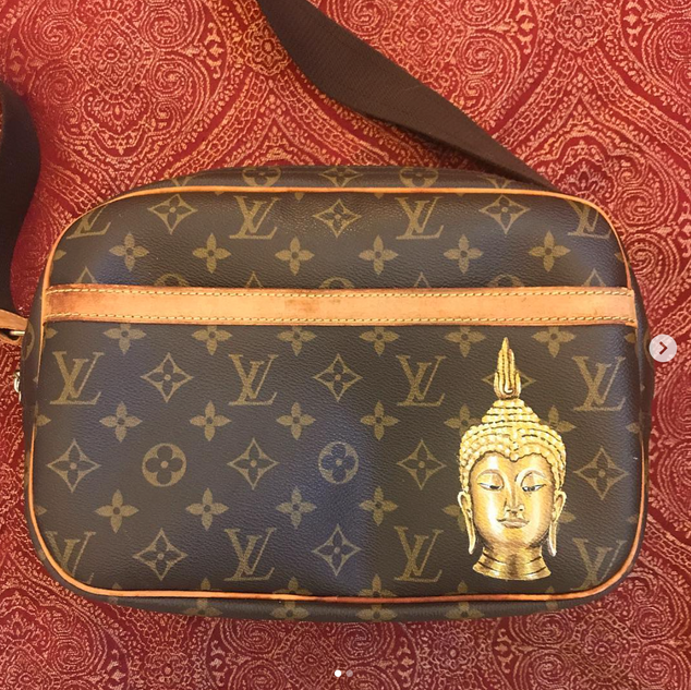 Gold Buddha painted on Louis Vuitton bag