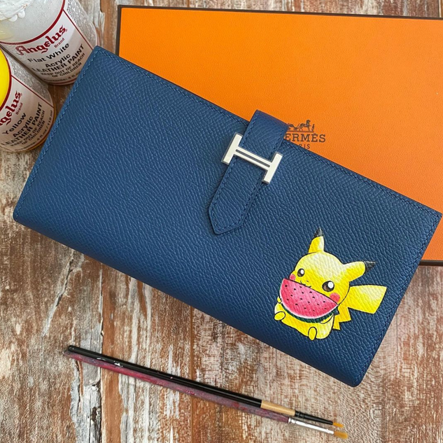 Hermes Wallet Painted Pikachu Pokemon Cu