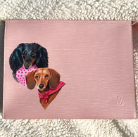 Weiner dog painted Louis Vuitton pet por