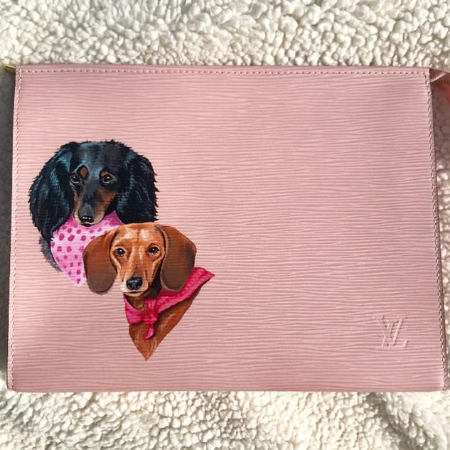 Weiner dog painted Louis Vuitton pet por