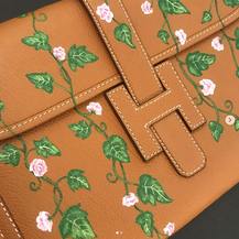 hermes floral painted customized clutch
