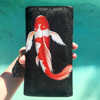 Gucci painted wallet with koi fish