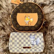 cute fox custom painted Louis Vuitton ba