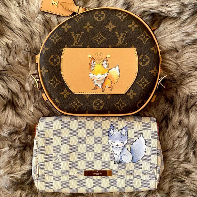 cute fox custom painted Louis Vuitton ba