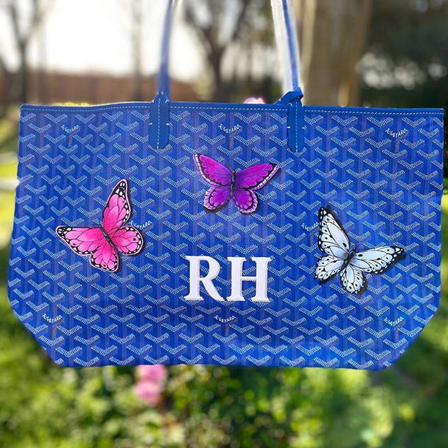 Butterfly and monogram painted Goyard Bl