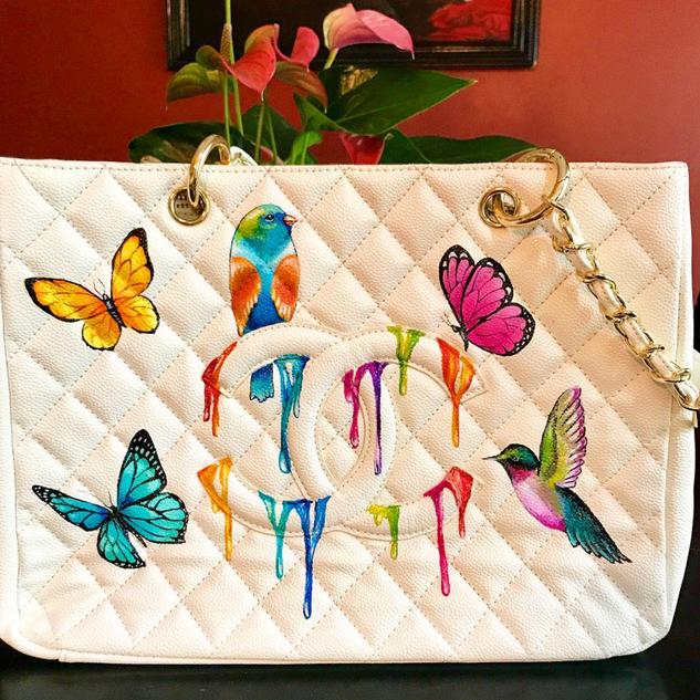 Custom Painted Chanel Shopper Birds Butt