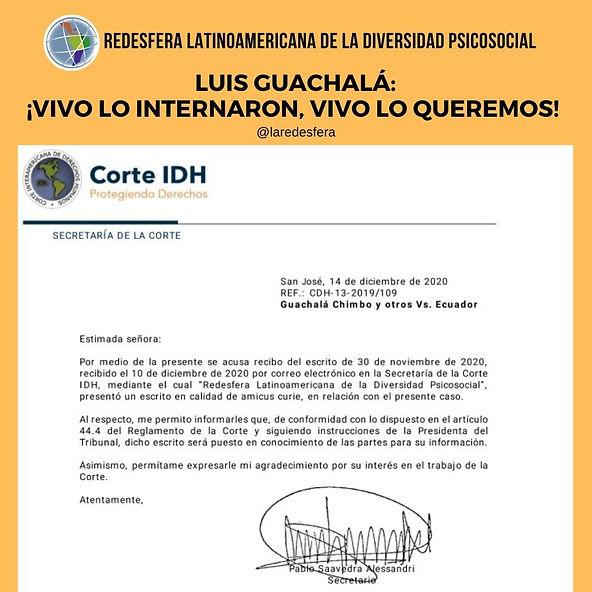 Carta de recibido del amicus curie presentado por la Redesfera, recibe por parte  de la Corte Interamericana de Derechos Humanos su secretario Pablo Saavedra Alessandri