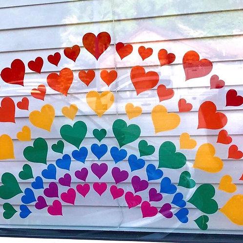 Vinyl Sticker Multi-coloured Hearts