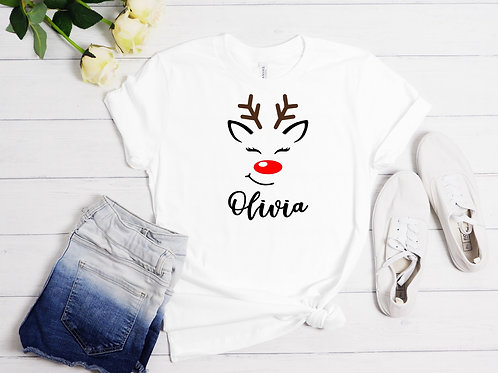 Personalised Reindeer T-Shirt - Adult or Child
