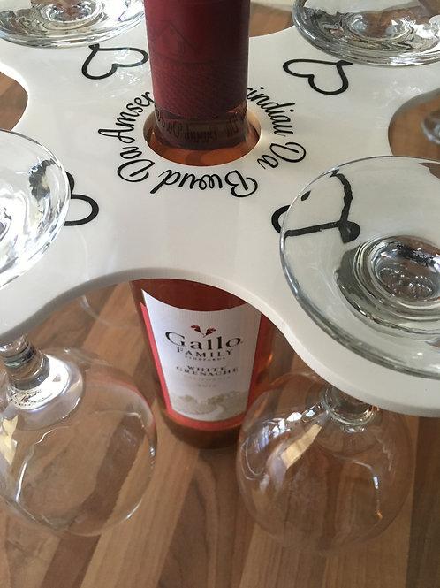 Acrylic 4 Glass Wine Bottle Holder