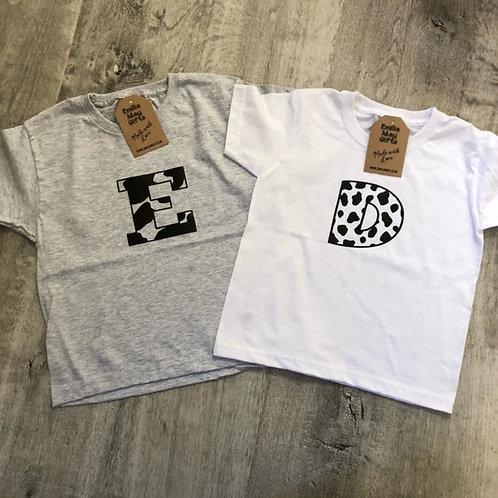 Personalised Animal design initial T-Shirt - Child