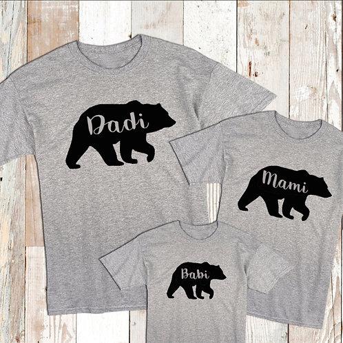 Family Bear T-Shirt Set - Dadi Bear, Mami Bear, Babi Bear
