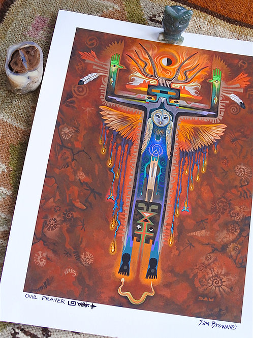Owl Prayer    paper18x24