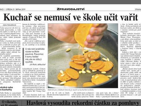 Média v ČR se plní informacemi o KU Young Chef 2019
