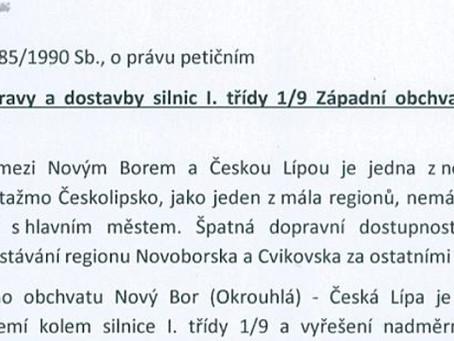 Senátor Vosecký iniciuje petici za urychlení stavby západního obchvatu České Lípy