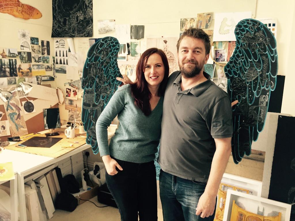 Míla a Peter v ateliéru při natáčení