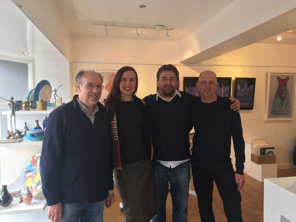 Stephen Tanner, Míla Fürstová, Peter Hirjak a Mike Vinnicombe po pracovní projekci filmu v Budleigh Salterton