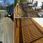 Before, During, and After picture of a Deck Washing and Staining