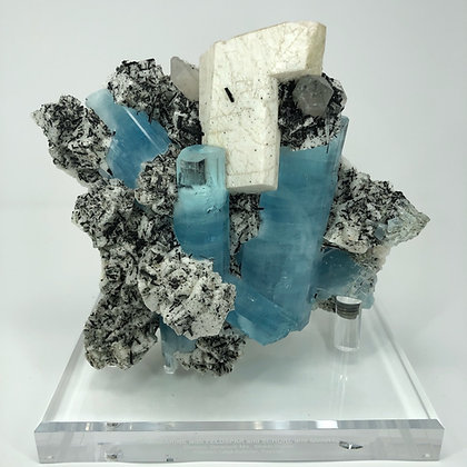 Mineral Specimen: Aquamarine on Feldspar, Pakistan