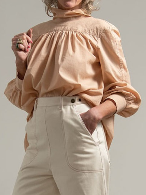 LEONIE BLOUSE : ORGANIC COTTON VOILE : SUNSET BEIGE